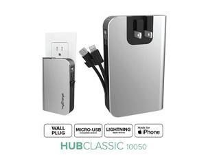 Portable Charger for iPhone Built in Cable Power Bank Fast Charging Hub 10050 mAh Lightning Micro USB Wall Plug USB Battery Pack External Cell Phone Backup 55 Hrs Power