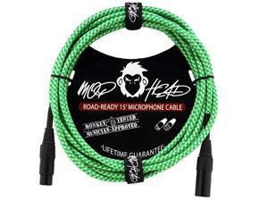 15 Foot Double Insulated and Road Ready Braided XLR Male to XLR Female Microphone Cable Green and White