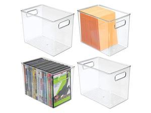Plastic Home Office Storage Organizer Bin with Handles Container for Cabinets Drawers Desks Workspace for Pens Pencils Highlighters Notebooks 4 Pack Clear
