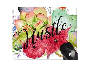 Hustle Quote Mouse Pad Watercolor Succulents Floral Design Gift for Teachers and Coworkers Office Desk Accessories24x20x03CM