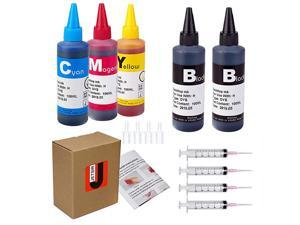4 Color Ink refill kit for HP 950 951 932 933 60 61 952 902 901 62 63 21 22 920 940 934 564 711 970 971 94 95 96 Ink Cartridges 2 Black 1 Cyan 1 Magenta 1 Yellow 100ML x5 Bottlewith Syringe