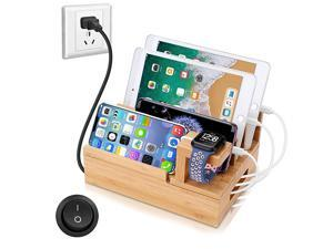 Charging Station Organizer,Fast Charging Station for Multiple Device 5-Port USB Bamboo Wood Charging Dock,Universal Apple Watch Phone Pad and Android Like Samsung Cell Phones & Tablets
