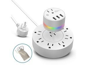 Surge Protector Power Strip w3 USB Ports 31A and Plugin Night Light 6Ft Extension CordFlat Plug2in1 Travel Adapter for Travel Home Dorm with Travel Carrying Bag