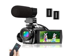 Video Camera Camcorder with Microphone  FHD 1080P 30FPS 24MP Vlogging Camera Recorder 30 Inch 270° Rotation Screen 16X Zoom Camcorder Webcam Recorder with Remote Control and 2 Batteries