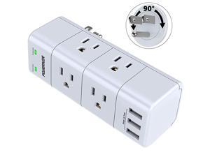 Surge Protector Wall Mount Outlet Splitter with Rotating Plug  Power Strip with 6 Outlet Extender 3 Side and 3 USB Ports 1680 Joules for Home School Office Travel White