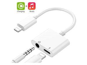 MFi Certified for iPhone Headphones Adapter Lightning to 35mm Headphone Jack Adapter Dual Ports Dongle Charge Jack AUX Audio 35mm for iPhone 1111 ProXXSXR87 Support All iOS System