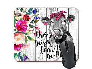 Heifer Dont Take No Bull Funny Heifer Mouse Pad Pink Floral Cow Mousepad Farmhouse Desk D¨¦cor