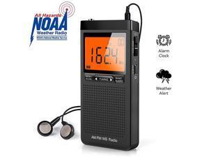 Weather Alert Radio Portable AMFM Battery Operated Transistor Radio with Headphone Jack Best Reception Digital Clock LCD Display Pocket Radio for Office Bedroom Running Walking