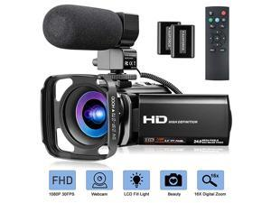 Camcorder 1080P Video Camera for YouTube  Digital Vlogging Camera 24MP 16X Digital Zoom 30 Inch 270° Rotation Screen Video Camera Camcorder with Microphone Hood Remote 2 Batteries