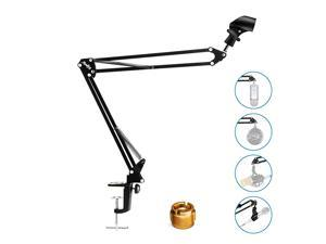 MMs-1 Microphone Arm, Upgraded Mic Arm Microphone Stand Boom Suspension Stand with Anti-Slip Clip For Blue Yeti Snowball Shure and Other Microphones