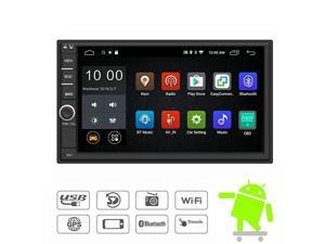 Android 90 Double Din Car Stereo Radio 7 Inch Touch Screen in Dash GPS Navigation Support WiFi Bluetooth Mirror Link SWC OBD with Backup Camera and Microphone No DVD
