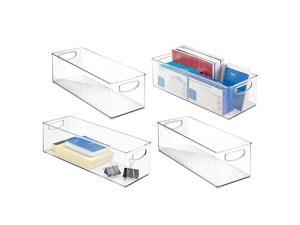 Large Stackable Plastic Storage Bin Container Home Office Desk and Drawer Organizer Tote with Handles Holds Gel Pens Erasers Tape Pens Pencils Markers 16 Long 4 Pack Clear