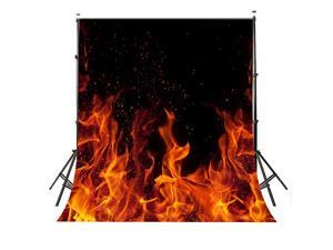 Raging Dancing Fire Photography Backdrops 5x7ft Black Background for Picture Photo Studio Props dw225