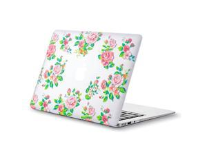 MacBook Air 13 inch Case A1466 A1369 Soft Touch Cover for Older Version 2017 2016 2015 Hard Shell Vintage Flower White