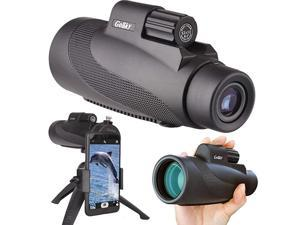 12X50 High Power Prism Monocular Smartphone Holder and Handheld Tripod Kit- Waterproof/Fog-Proof/Shockproof Grip Scope -for Hiking,Hunting,Climbing,Birdwatching Watching Wildlife and Scenery