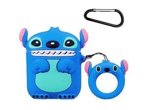 for Airpods 1 for Airpods 2 CaseCute Funny Cartoon Character Silicone Airpod CoverKawaii Fun Cool Design SkinFashion Animal Lilo Cases for Girls Kids Teens Boys Air pods Blue 3D