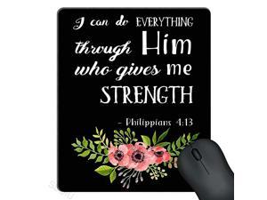 Mouse Pad Pink Watercolor Flowers Art Bible Verse Scripture Quotes Philippians I Can Do Everything Through Him Who Gives Me Strength