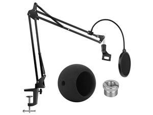 Adjustable Mic Stand for Blue Snowball and Blue Snowball iCE Suspension Boom Scissor Arm Stand with Microphone Windscreen and Dual Layered Mic Pop Filter Max Load 15 KG