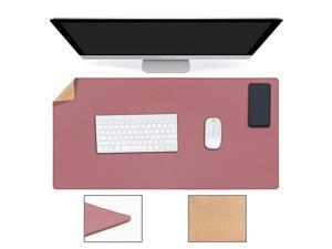 YSAGi Multifunctional Office Desk Pad Ultra Thin Waterproof PU Leather Mouse Pad Dual Use Desk Writing Mat for OfficeHome 315quot x 157quot Cork+Dark Pink