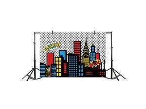 10x65ft Cartoon Comic Super Hero City Photography Backdrop Vinyl Humor Abstract Superhero Baby Shower Photo Background for Girl Birthday Party Photo Video Shoot Studio Prop Wallpaper