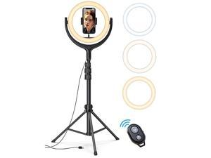 10 Selfie Ring Light 67 Tripod Stand  LED Circle Halo Light with Cell Phone Holder for Live StreamMakeupYouTube Video RecordingPhotography ARO De Luz Compatible with All iPhones