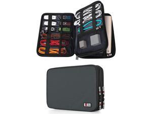 Double Layer Electronic Accessories Organizer Travel Gear Bag for Cables USB Flash Drive Plug and More Perfect Size Fits for iPad Mini Medium Gray