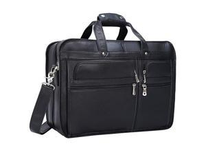 Men's Solid Full Grain Cowhide Leather Large 17 Inch Laptop Briefcase Messenger Bag Tote with YKK Zippers (Black -Calfskin Leather)