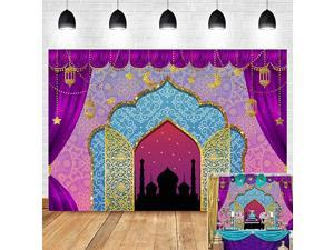 Bollywood Luxurious Arabian Moroccan Nights Photography Backdrop Magic Genie Lamp Princess Birthday Party Decorations Vinyl Gold Photo Background Baby Shower 5x3ft Photo Booth Prop Cake Table
