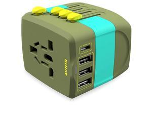 Ultimate Travel Adapter by  2400W All in One International Wall Charger with 10A Universal AC Plug for High Power Appliances 25W Smart USB TypeC Worldwide 150+ Countries USA EU UK AUS