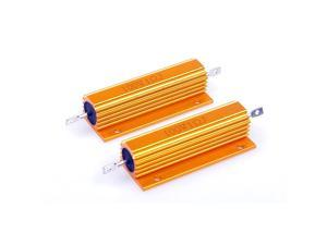 100 Watt 1 Ohm 5 Electronic Aluminium Shell Resistors Gold Wirewound Resistor Suitable For Inverter LED lightsFrequency Divider Servo Industry And Other Industrial Control 2Pcs