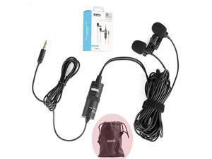 BYM1DM Dual Lavalier Universal Microphone with a Single 18 Stereo Connector for Smartphones DSLR Camears Camcorders