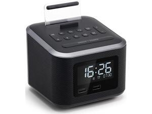 Clock RadioWireless Bluetooth SpeakerDigital Clock USB Charger for Bedroom with FM RadioUSB Charging PortAUXin and Cell Phone StandSnoozeDimmerBattery Backup Black