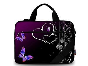 iColor Purple Butterflies Canvas Laptop Carrying Shoulder Sleeve Case Protective Bag Briefcase Fits 116 12 129 13 133 Inches Laptop Ultrabook Netbook CSH05