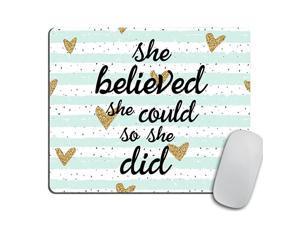 Mousepad She Could Mouse Pad Watercolor Mouse Mat Custom Mousepad Heart Mousepad Inspirational Mousepad Motivational