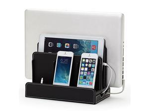 MultiDevice Charging Station Dock Organizer Multiple Finishes Available for Laptops Tablets and Phones Strong Build Black Leatherette
