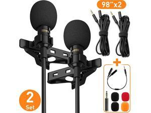 Lavalier Lapel Microphone Complete Set Omnidirectional Condenser Grade Audio Video Recording Mic for AndroidiPhonePCCamera for Interview YouTube Video Conference Podcast