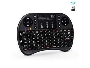 Upgraded 24GHz Mini Wireless Keyboard with TouchpadQWERTY KeyboardLED BacklitPortable Keyboard Wireless for laptopPCTabletsWindowsMacTVXboxPS3Raspberry Pi i8+ Black