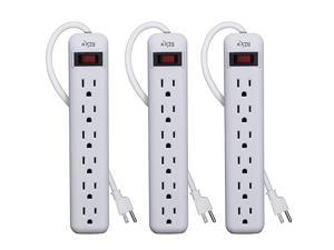 6Outlet Power Strip 3Pack Overload Protection 3Foot Cord White