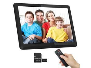 169 IPS Screen 10 inches Digital Photo Frame + 32GB SD Card HD Digital Picture Frame Widescreen 1080P HD Video Frame Photos Auto Rotate Support Thumb USB Drive SDMMCMS CardBlack