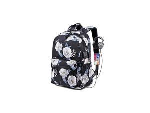 Floral Backpack Girls Bookbags with USB Charging Port Fit for 14 Laptop Fashion Casual Rucksack Travel Daypack Bag for TeensSunflowers