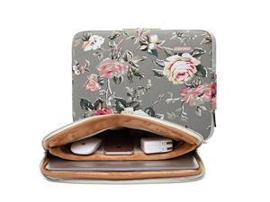 Gery Rose Patten canvas Waterresistant 17 Inch Laptop Sleeve case for 156 17 inch Notebook Computer