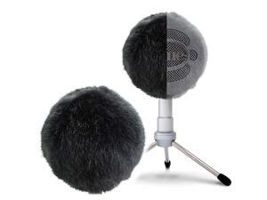 Blue Snowball Furry Windscreen Cover Muff Professional Mic Foam Wind Cover Windshield Pop Filter for Recordings Broadcasting Singing by  Black