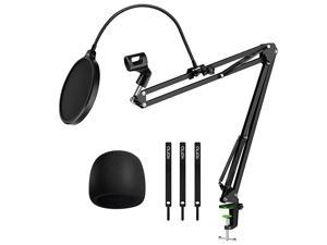 Adjustable Mic Stand for Blue Yeti Snowball Suspension Boom Scissor Arm Stand with Microphone Windscreen and Dual Layered Mic Pop Filter & Cable Ties