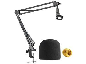Blue Yeti Mic Boom Arm with Foam Windscreen Suspension Boom Scissor Arm Stand with Pop Filter Cover for Blue Yeti Pro Microphone by