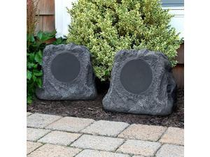 Technology Outdoor Rock Speaker Pair Wireless Bluetooth Speakers for Garden Patio Waterproof Built for all Seasons amp Solar Powered with Rechargeable Battery Music Streaming Charcoal