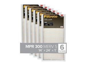 14x24x1, AC Furnace Air Filter, MPR 300, Clean Living Basic Dust, 6-Pack (exact dimensions 13.81 x 23.81 x 0.81)