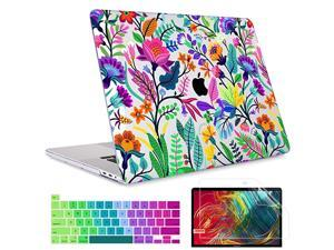 for MacBook Pro 16 inch A2141 2019 Release Crystal Clear Plastic Pattern Hard Shell Case Screen Protector Keyboard Cover for Newest MacBook Pro 16inch Colorful Flowers and Tropic Leaves