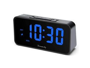 73 Inches Large Alarm Clock Radio Electronic FM Clock Radio 2 Inches Digit Display with Dimmer USB Charging Port Weekday Display Snooze Sleep Timer DST Battery Backup