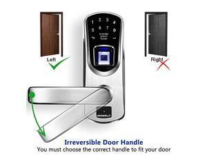 Fingerprint Door Lock with Left-Handle ,  A60 Keyless Entry Biometric Auto-Lock Door Locks, Smart Front Door-Lock with Digital Keypads and Key for Garage Home, 304 Stainless Steel