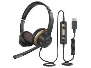 HC6 USB Headset with Microphone Comfortfit Office Computer Headphone OnEar 35mm Jack Call Center Headset for Cell Phone 270 Degree Boom Mic inline Control with Mute for Skype Webinar